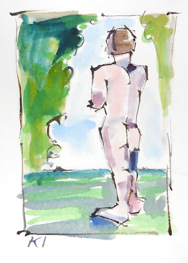 """""""Watercolor Nude"""" original fine art by Kevin Inman"""