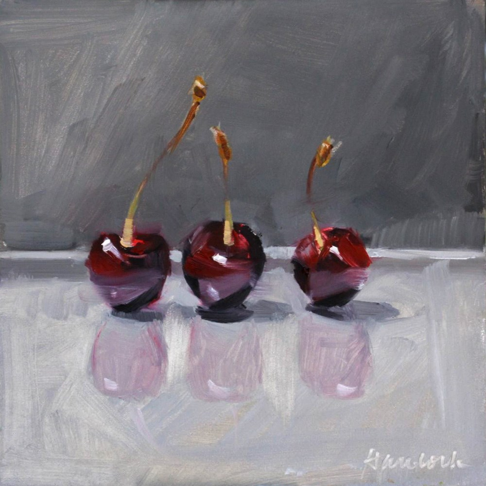 """Three Cherries on Gray with Reflections"" original fine art by Gretchen Hancock"