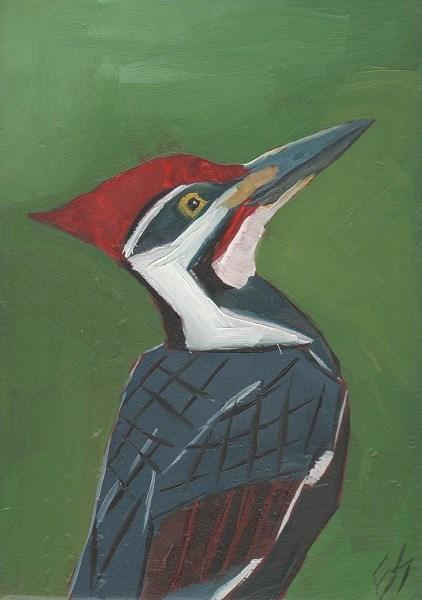 """""""Piliated Woodpecker On Wooden Block"""" original fine art by Elizabeth See"""
