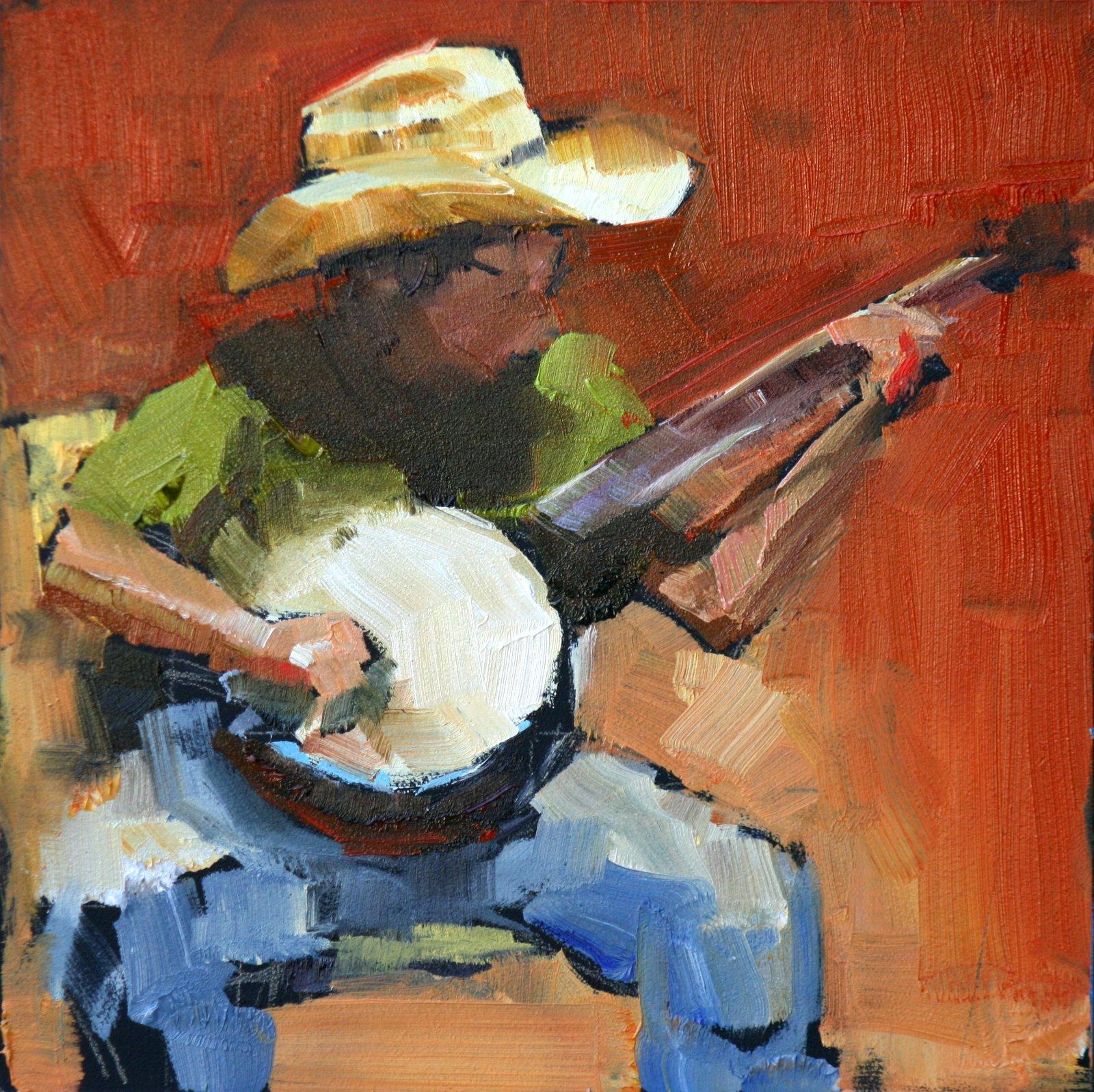 """banjo boy"" original fine art by Carol Carmichael"