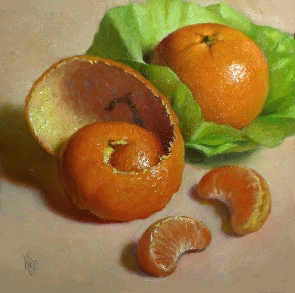 """Tangerine and Peel with Green"" original fine art by Debra Becks Cooper"
