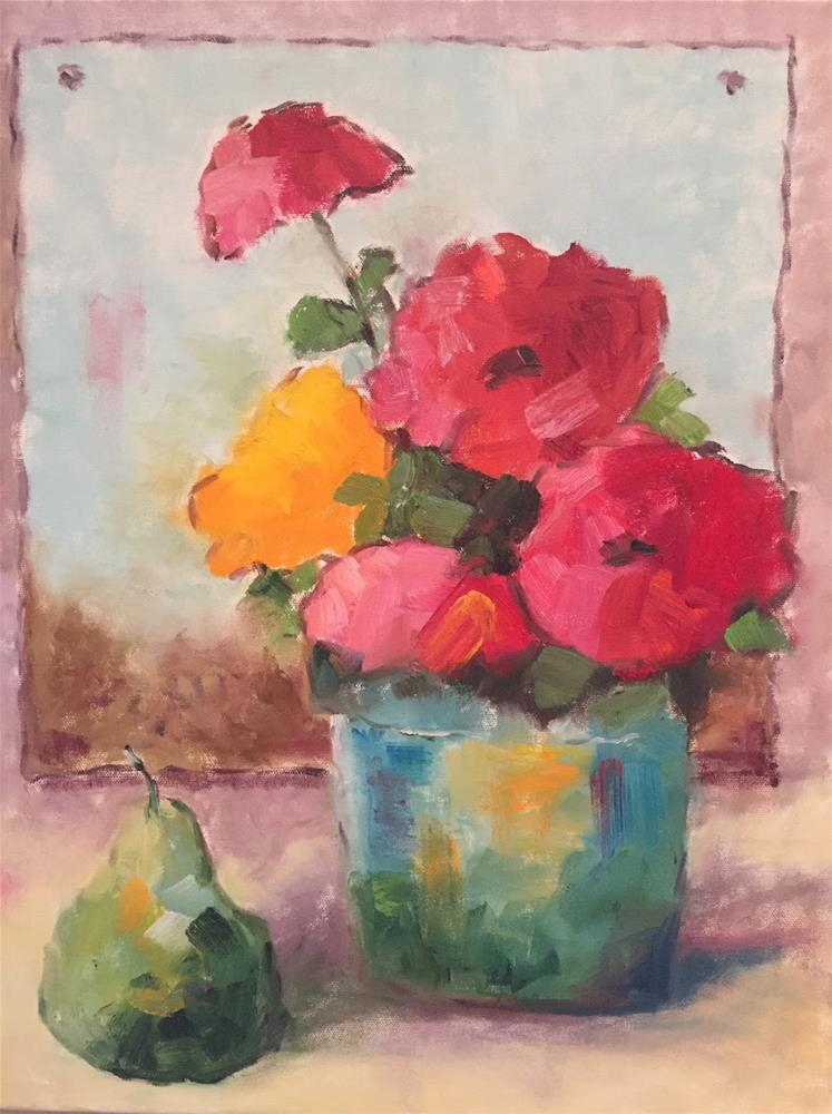 """Zinnias with pear"" original fine art by Gayle Lambeth"