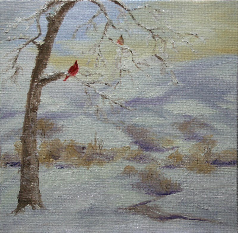 """Cardinal Pair"" original fine art by Jean Nelson"