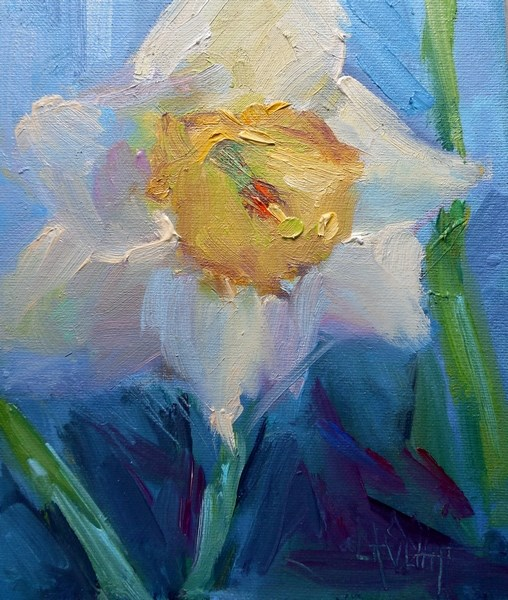 """Daffodil Painting, Small Flower Painting, Daily Painting, 6x8 Oil"" original fine art by Carol Schiff"