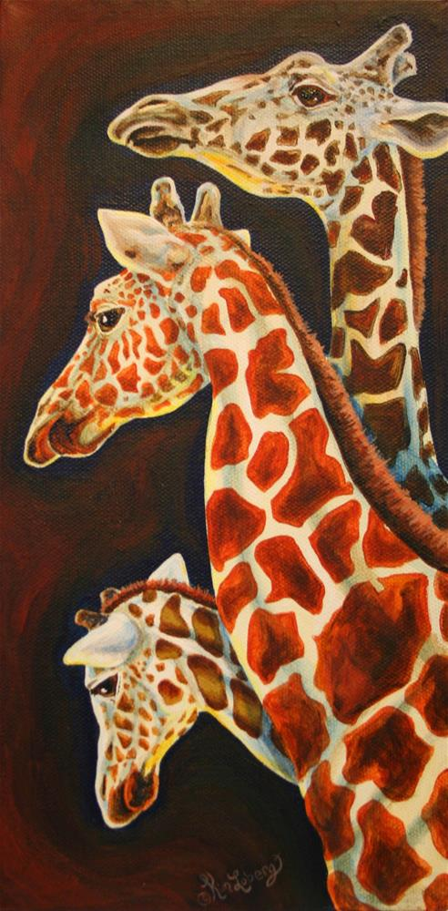 """Giraffes, We Three"" original fine art by Kim Loberg"