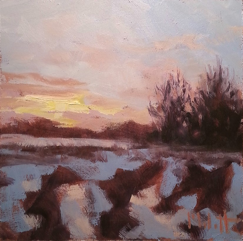 """Fields in February Contemporary Impressionism Original Daily Oil Paintings"" original fine art by Heidi Malott"