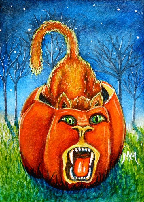 """Pumpkin Roar"" original fine art by Monique Morin Matson"