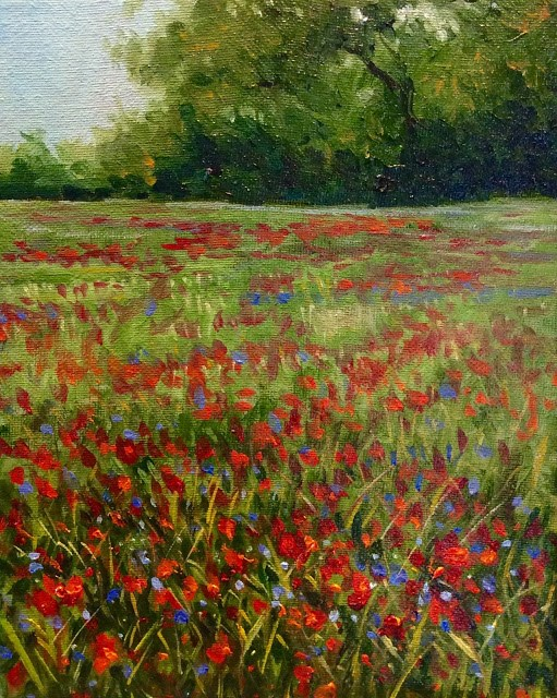 """Poppies and periwinkles"" original fine art by Hilary J. England"