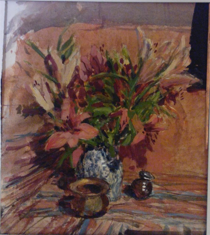 """""""Lillies and vessels on patterned fabric"""" original fine art by Nathan Sowa"""