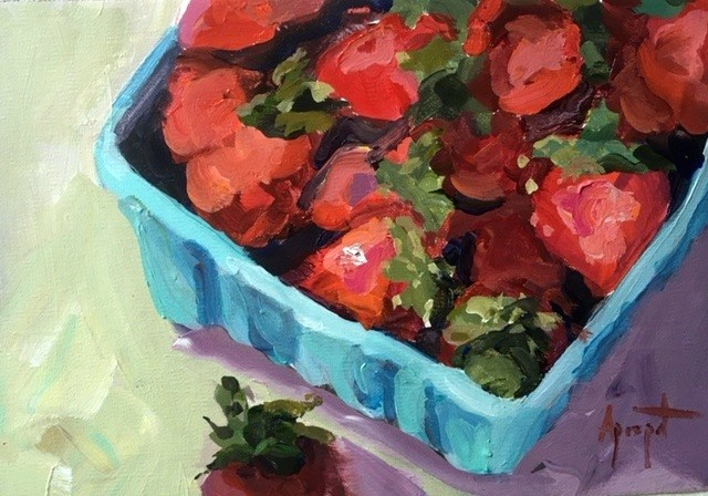 """Strawberries"" original fine art by Anne Marie Propst"