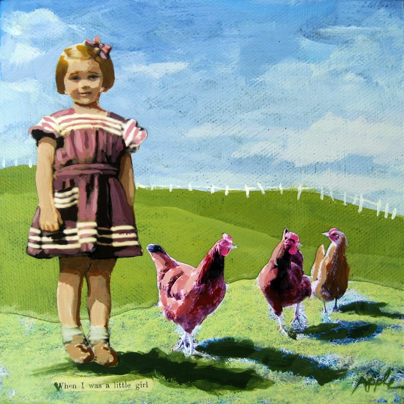 """Little Girl with Chickens - vintage era summer Special #2 oil painting"" original fine art by Linda Apple"