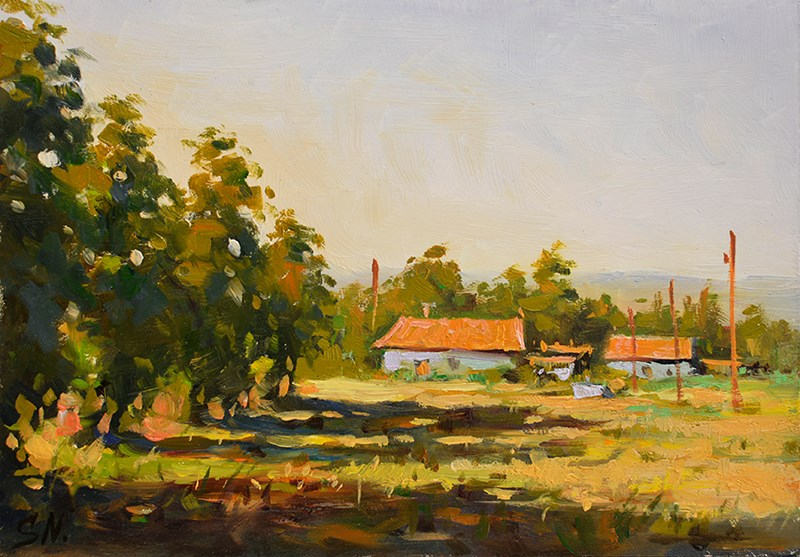 """Abandoned farmhouse, French countryside - oil painting"" original fine art by Nick Sarazan"