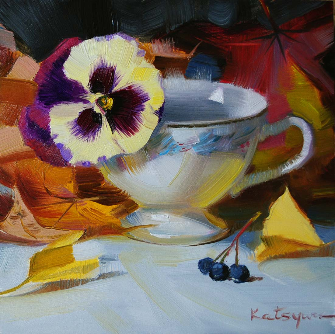 """Pansy in a Cup"" original fine art by Elena Katsyura"
