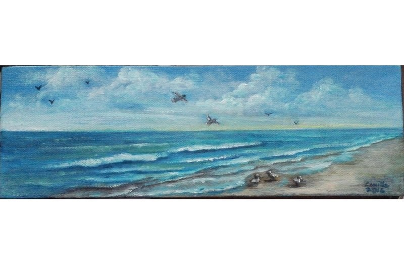 """Seascape Ocean Beach Seagulls Sky"" original fine art by Camille Morgan"