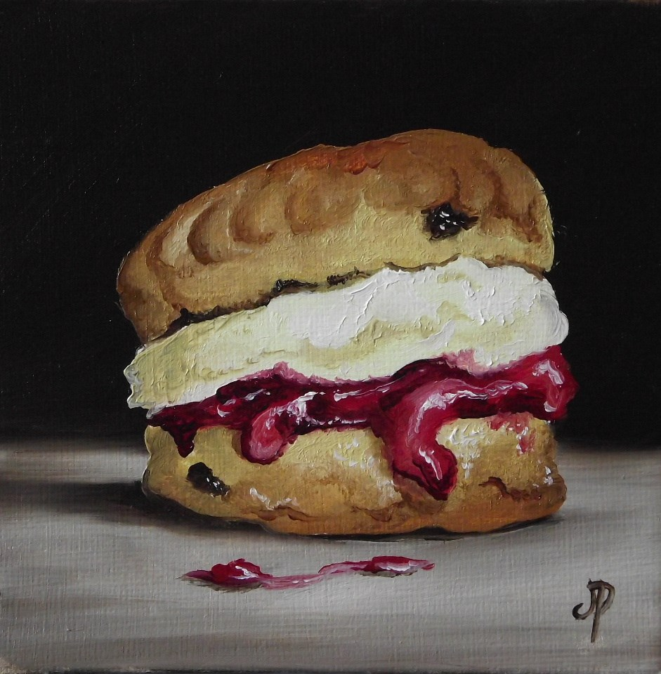 """Little Scone with Jam and Cream"" original fine art by Jane Palmer"
