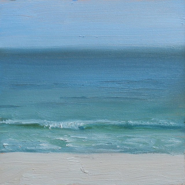 """Breathe, Ocean Study, 4x4 Inches, Oil"" original fine art by Kelley MacDonald"