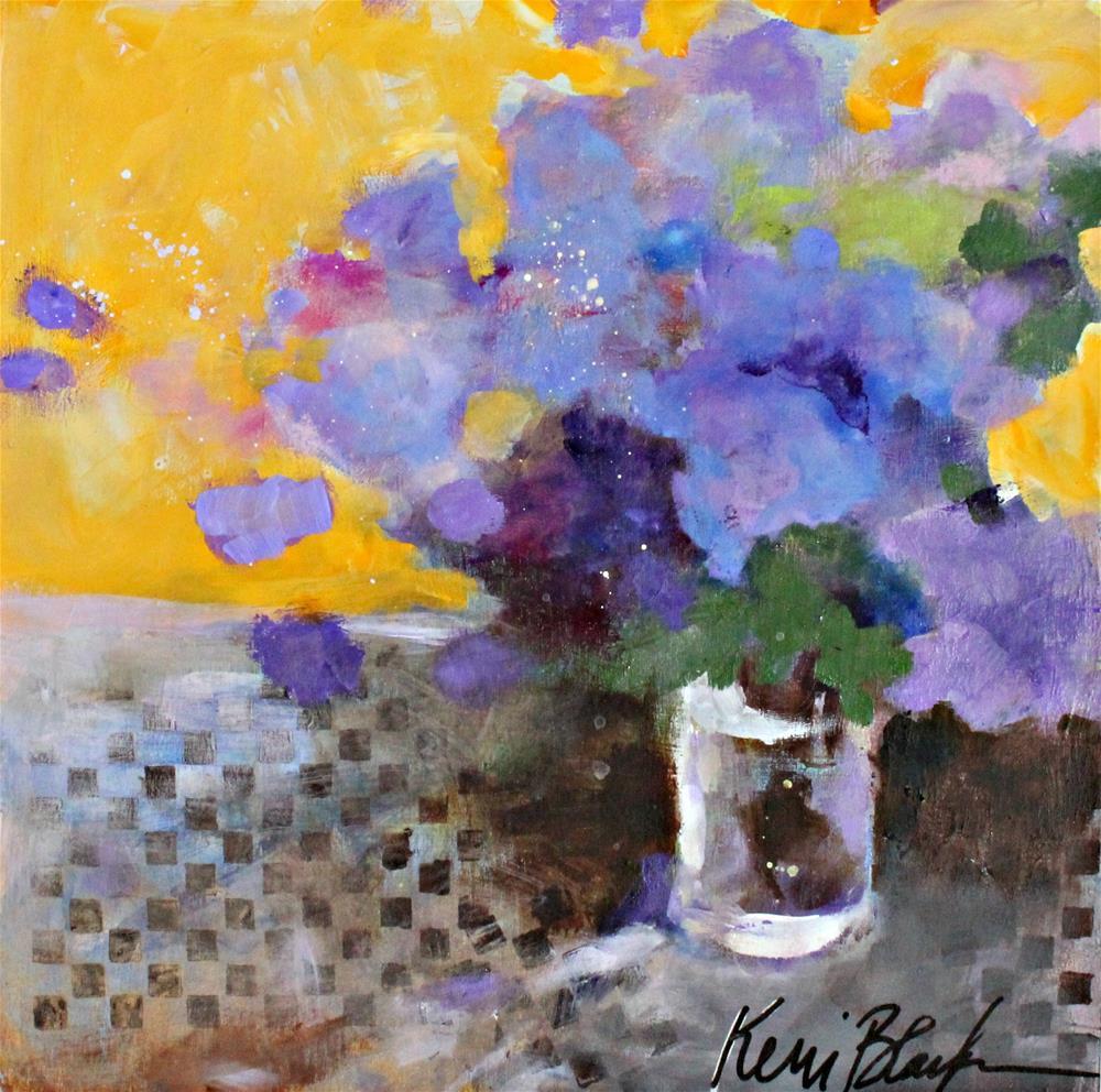 """""""Purple Flowers in a Yellow Room """" original fine art by Kerri Blackman"""
