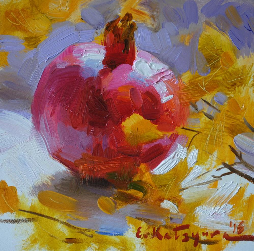 """Pomegranate on the Window"" original fine art by Elena Katsyura"