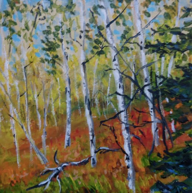 """2015 Yukon Aspens No. 2"" original fine art by Jackie Irvine"