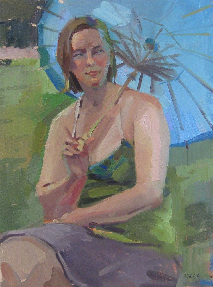 """The Blue Parasol"" original fine art by Sarah Sedwick"