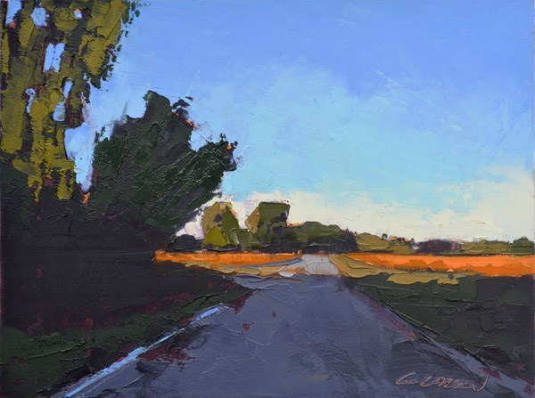 """Minervaville Road, Fall Shadows"" original fine art by Mary Gilkerson"