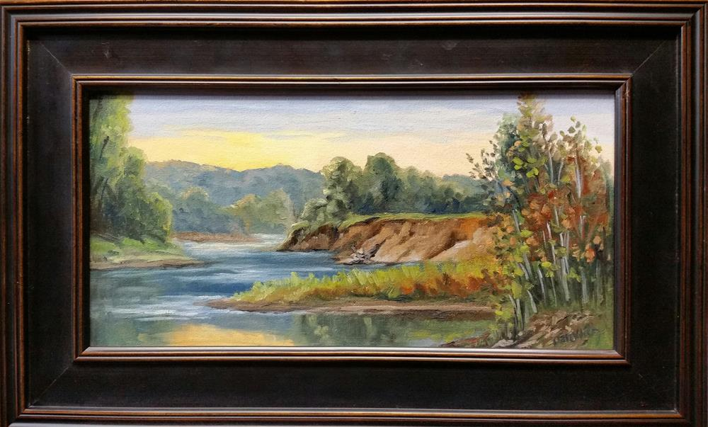 """Sunrise on the Gasconade II-plein air"" original fine art by Veronica Brown"