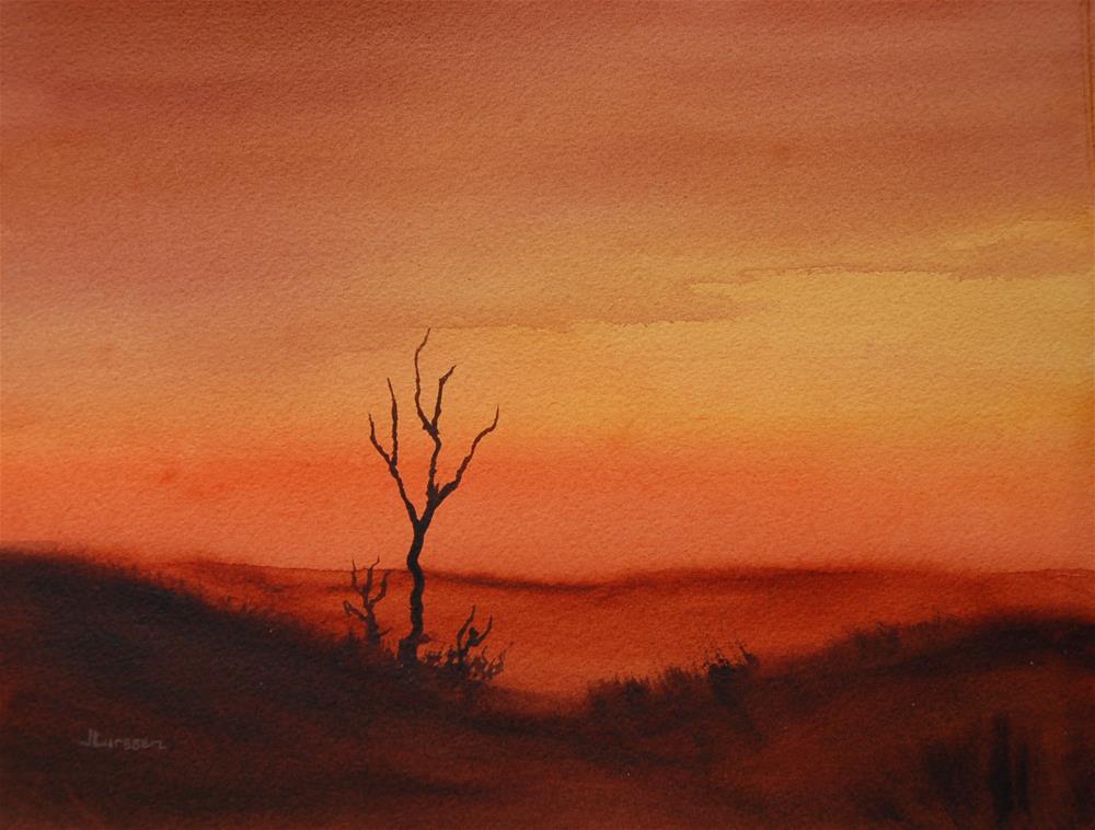 """""""Desert Sunset"""" original fine art by Jean Lurssen"""