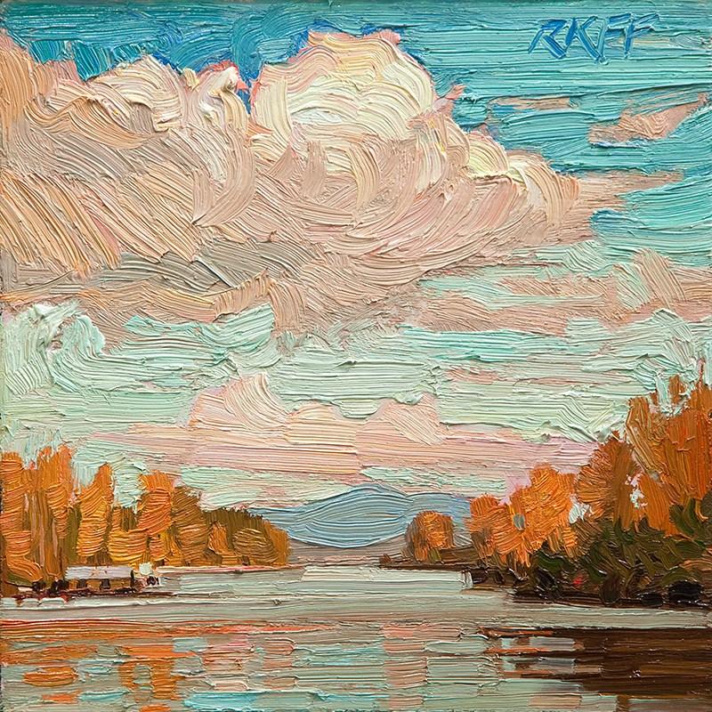 """Sunny River: 6x6 oil on panel"" original fine art by Ken Faulks"