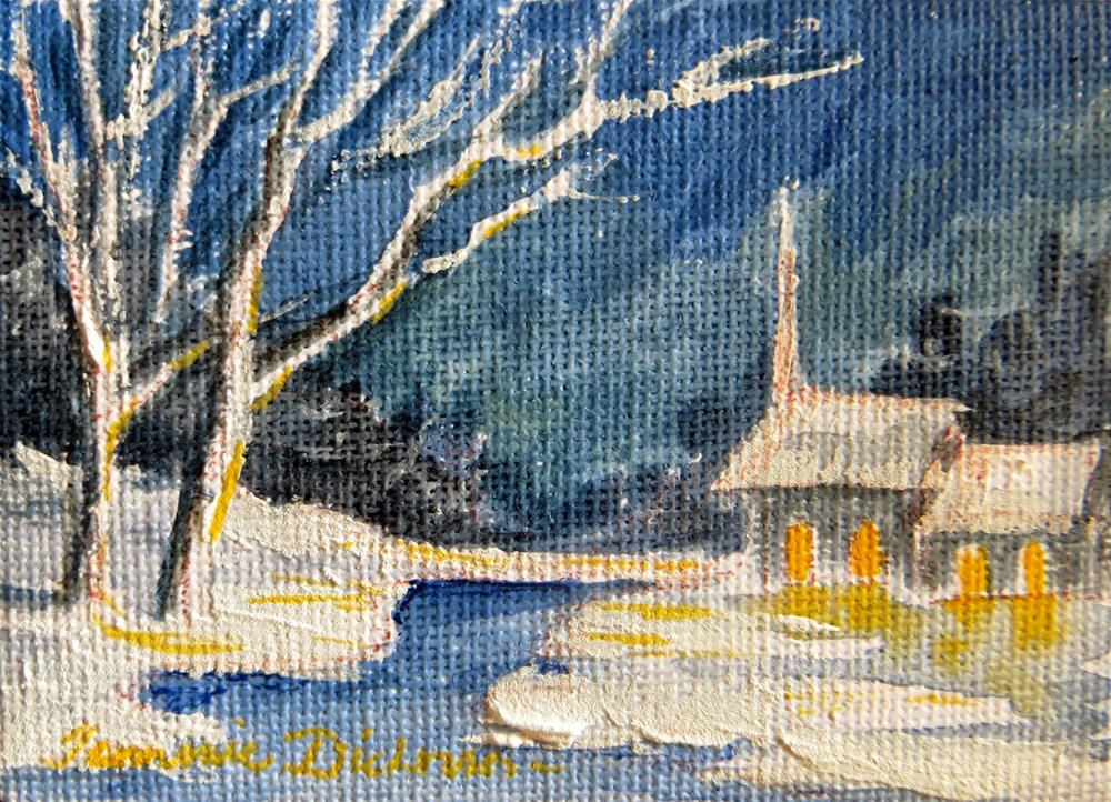 """Winter Church by Stream - miniature"" original fine art by Tammie Dickerson"