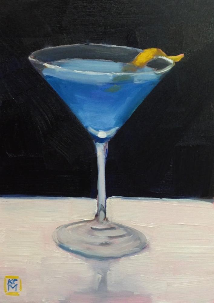 """Join Me, 5x7 inch Oil Painting of a Blue Martini by Kelley MacDonald"" original fine art by Kelley MacDonald"