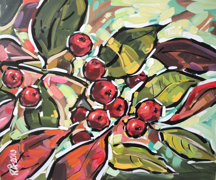 """Rowan Berries 11"" original fine art by Roger Akesson"