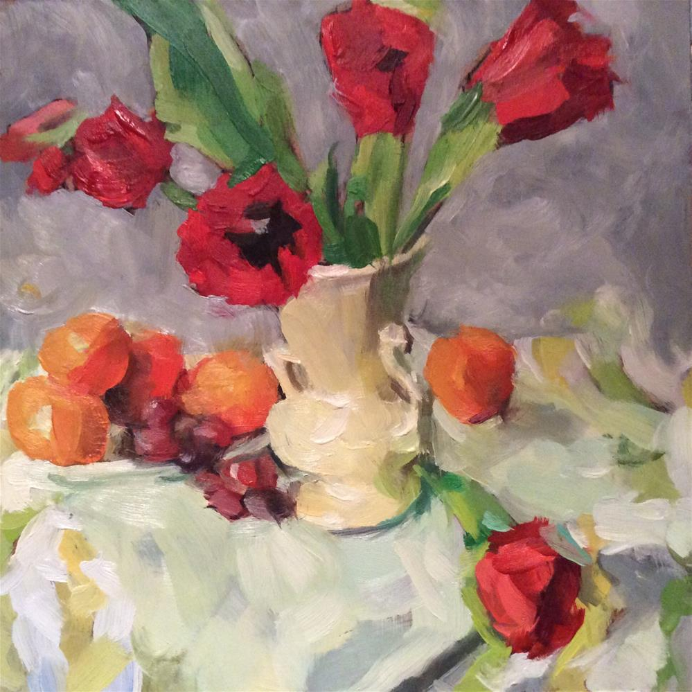 """Still life with tulips"" original fine art by Paula Howson-Green"