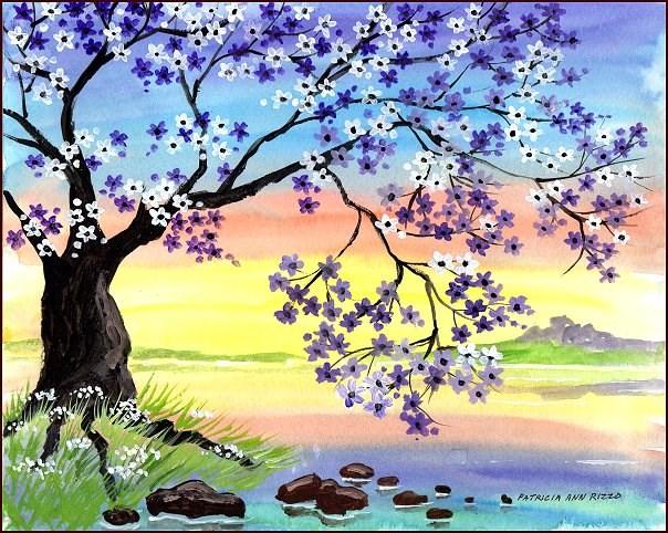 """""""Purple Daisy Tree"""" original fine art by Patricia Ann Rizzo"""