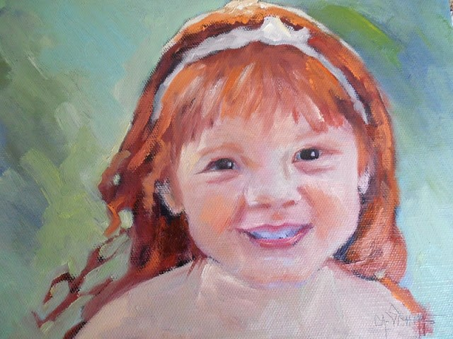 """Daily Painting, Small Oil Painting, Child Portrait, The Redhead, 8x10x1.5, oil, NFS"" original fine art by Carol Schiff"