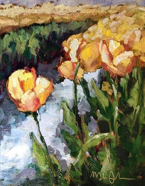 """Yellow Tulip Field"" original fine art by Melissa Jander"