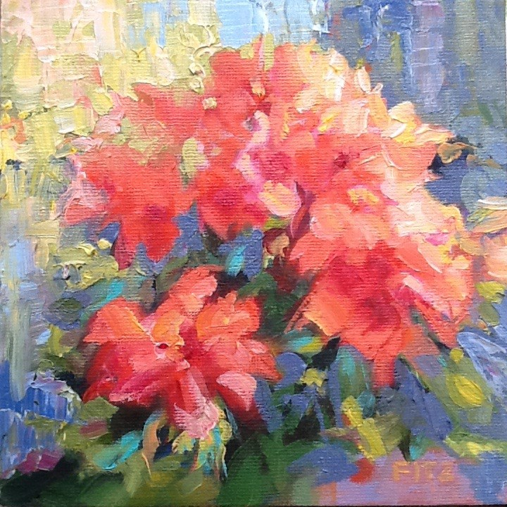 """Geraniums"" original fine art by Jean Fitzgerald"