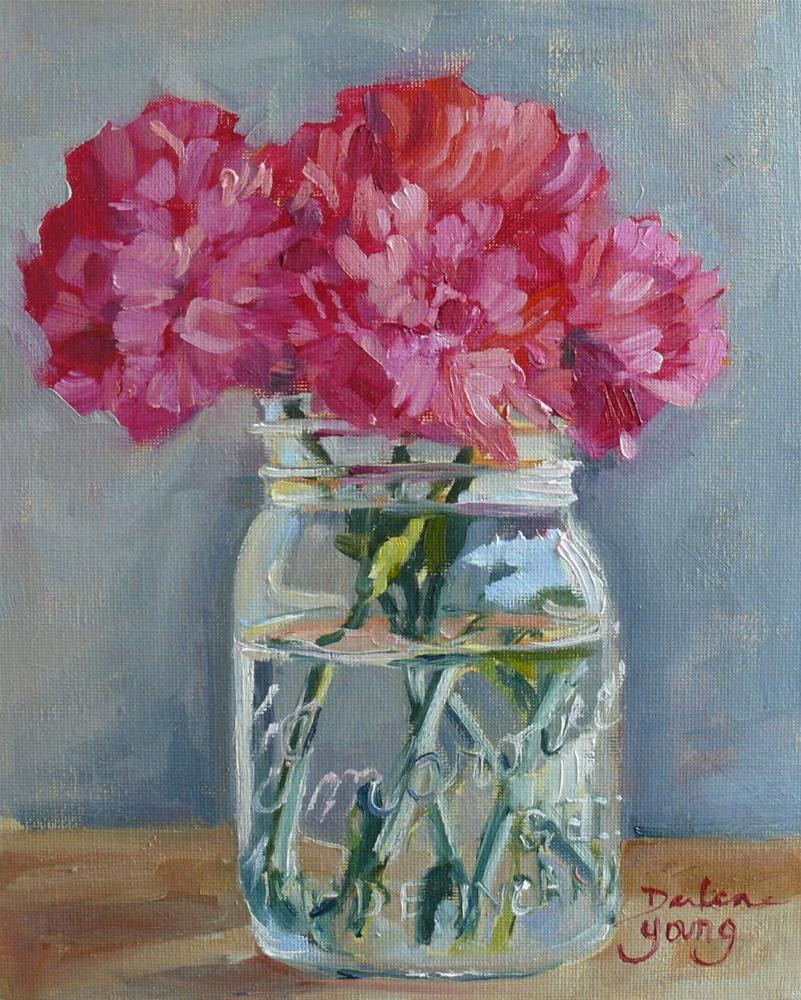 """836 Pink Carnations in a Mason Jar, oil on board, 8x10"" original fine art by Darlene Young"