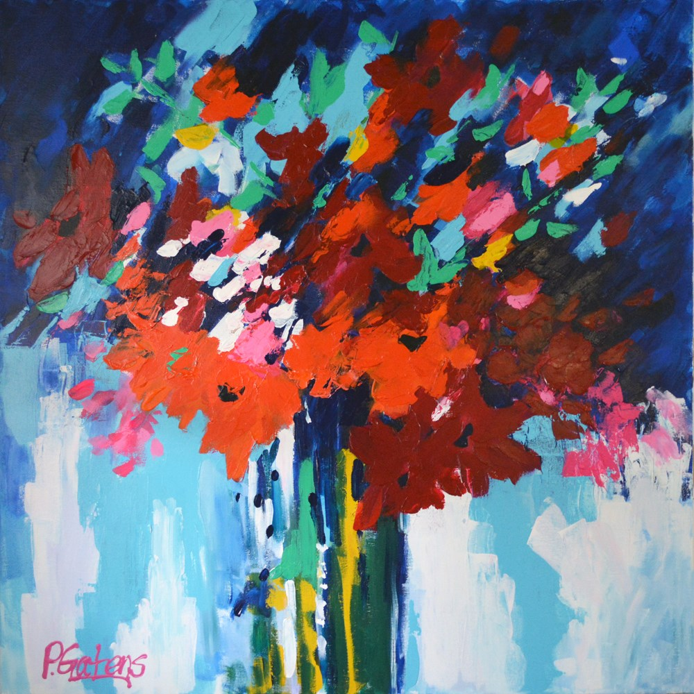 """Red Modern Floral Abstract"" original fine art by Pamela Gatens"