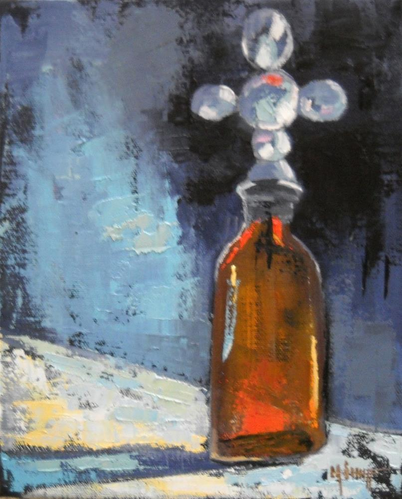 """""""Still Life Bottle Painting,Daily Painting,  Still Life Painting, Cross Bottle II  by Carol Schiff"""" original fine art by Carol Schiff"""