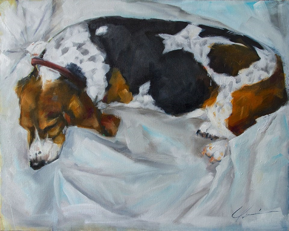 """Sleeping Basset"" original fine art by Clair Hartmann"