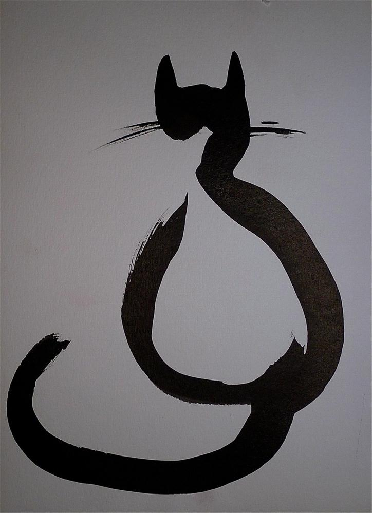 """Black cat - back"" original fine art by Ulrike Schmidt"