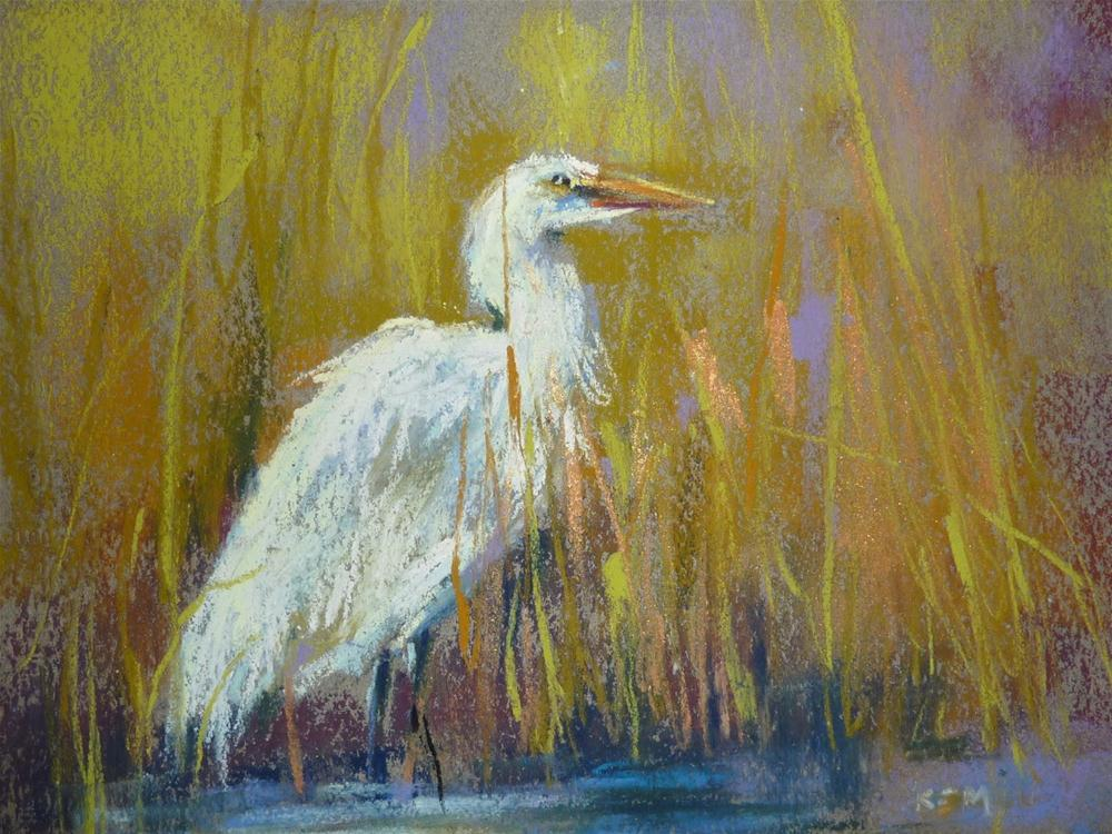 """Painting a Great White Egret"" original fine art by Karen Margulis"
