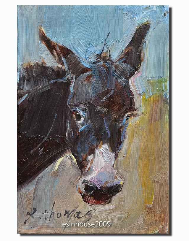 """12x18cm Original oil Painting donkey portrait Farm animals Minimalist style"" original fine art by Thomas Xie"