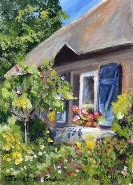 """Cottage Garden ACEO"" original fine art by Janet Graham"