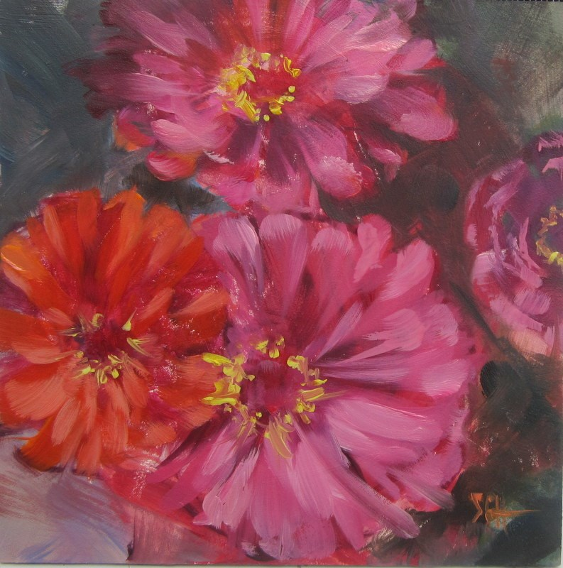 """Zinnias are wonderful"" original fine art by Sandy Haynes"