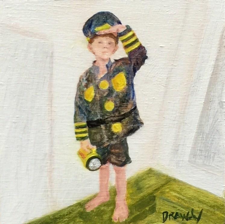"""""""Boy Playing Conductor"""" original fine art by Stephanie Drawdy"""