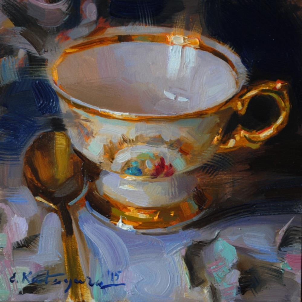 """Gold on Cobalt"" original fine art by Elena Katsyura"