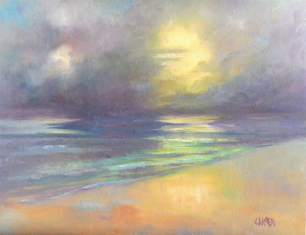 """Peace, 8x10 Oil on Canvas Panel, Seascape at Sunrise"" original fine art by Carmen Beecher"