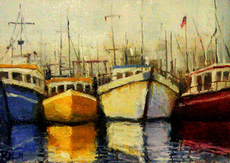 """Four Boats"" original fine art by Bob Kimball"