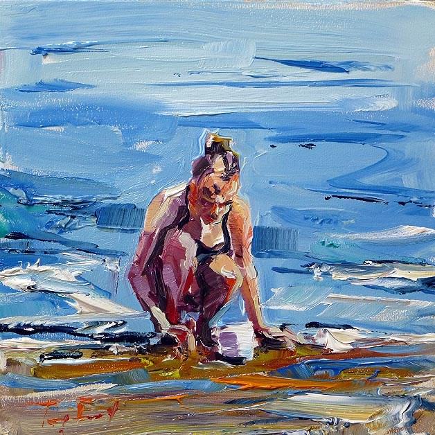 """Game on water"" original fine art by Jurij Frey"